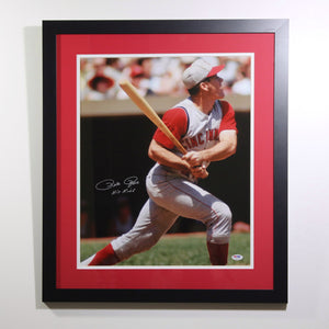 Pete Rose Young Hit Autographed 16x20