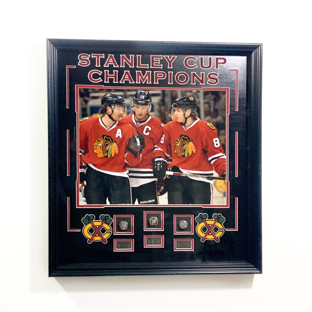 Chicago Blackhawks 3 Stanley Cup RINGS Shadowbox