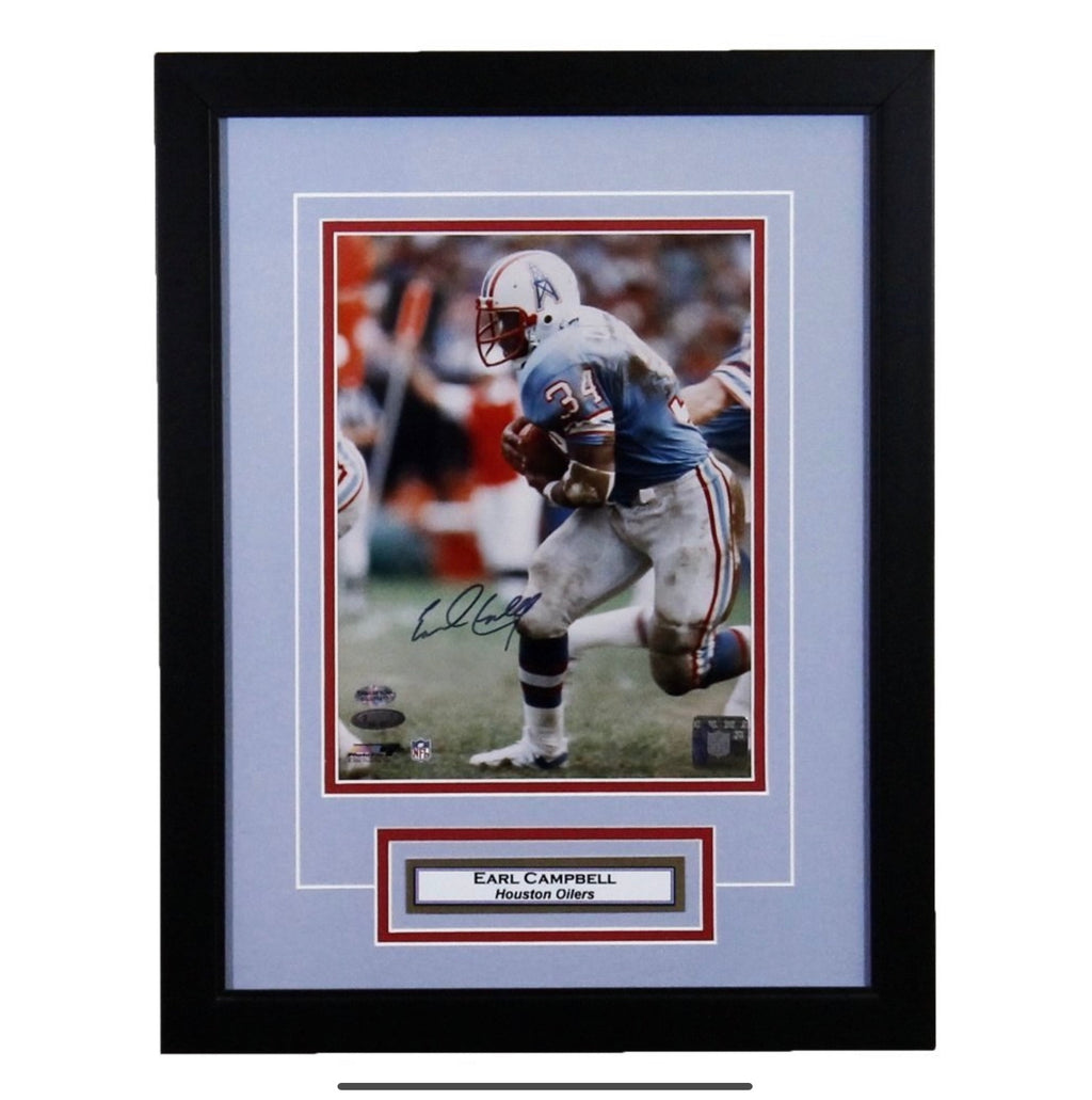 Earl Campbell 'Jersey Pull' Houston Oilers Autographed Framed 11x14