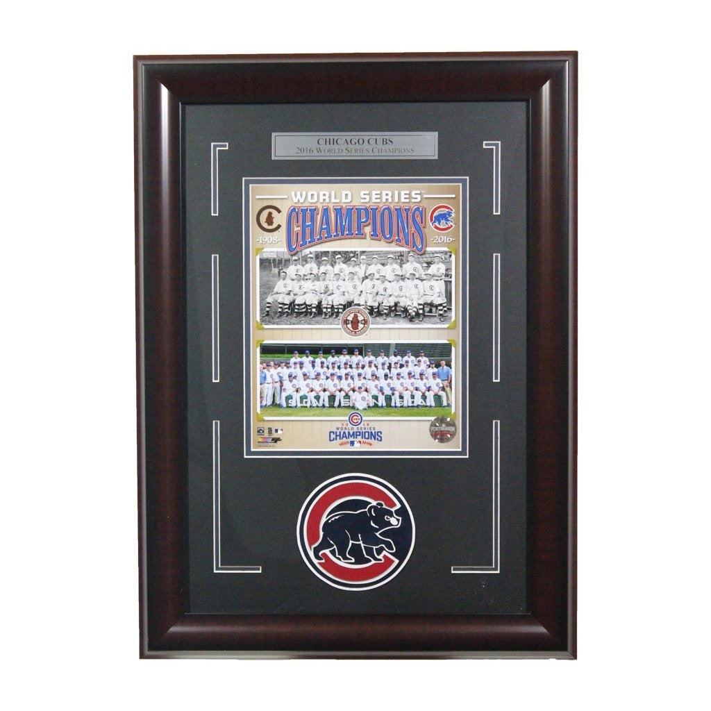 Chicago Cubs 1908/2016 World Series Champions Framed Display
