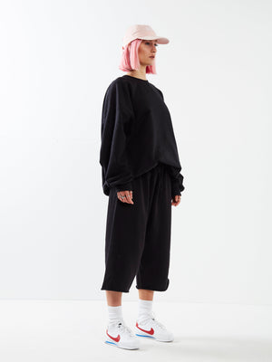 Half Cut Oversized Black Jumper