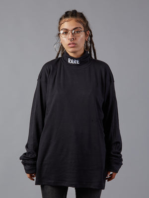 On A Roll Oversized Black Turtleneck