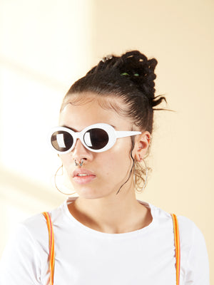 White Plastic Oval Sunglasses.