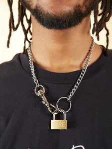 RARE Engraved Padlock Necklace