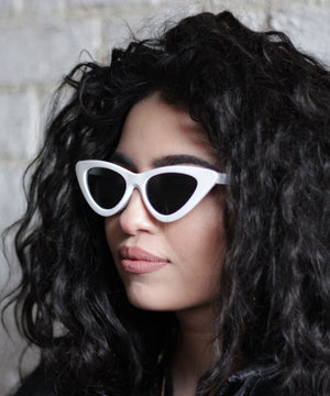 Vintage White Cat Eye Sunglasses.