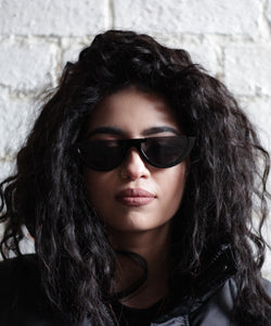 Black Vintage Half Frame Cat Eye Sunglasses.