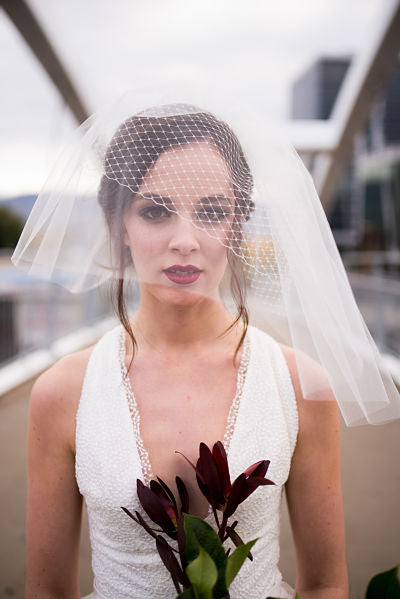 "9"" wide Birdcage Veil with 14"" Tulle Tier"