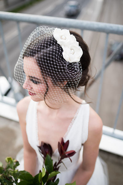 "Birdcage Veil 9"" wide with a Satin & Lace Flower Detail (white OR ivory)"
