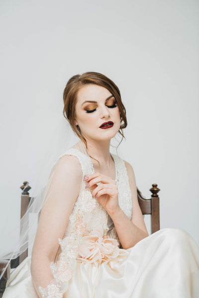 ROSE COLLECTION  - APRIL - Blush Veil with Floral Lace Trim