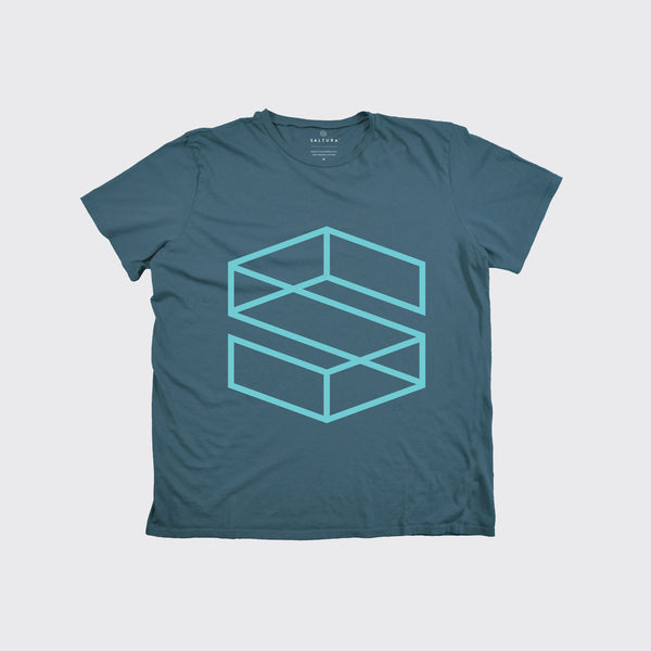 KIDS S BLOCK TEE - Blue/Aqua