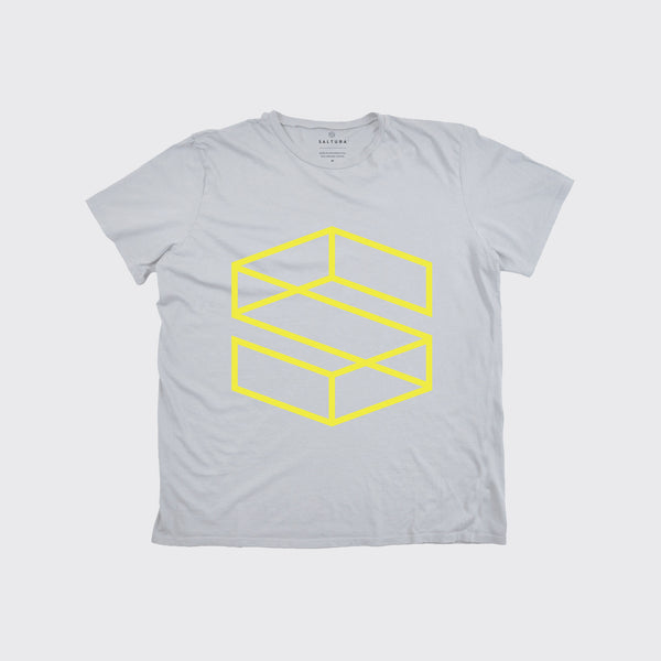 KIDS S BLOCK TEE - Fog/Yellow