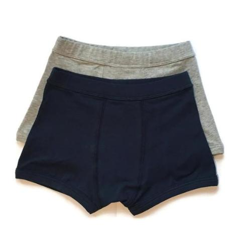 Organic Boys Boxer Brief Grey and Navy Comfortable Underwear Bloom Kids