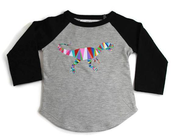 BLOOM by Girl Gotch, Dinosaur baseball t-shirt, super soft underwear for kids