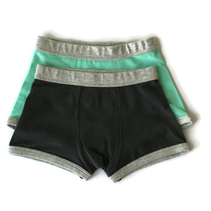 Organic Boys Boxer Brief Charcoal and Mint Comfortable Underwear Bloom Kids