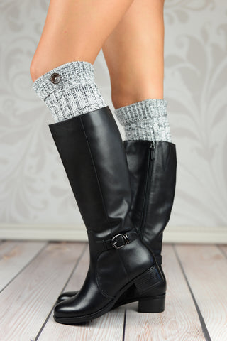 Boot Cuffs - Gray Fold Over Cable Knit Boot Cuffs