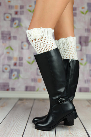Boot Cuffs - White Crochet Rose Flower Boot Cuffs