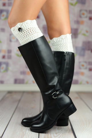 Boot Cuffs - White Scalloped Button Boot Toppers