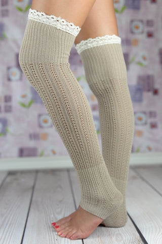 Boot Socks - Beige Open-Toe Yoga Boot Socks