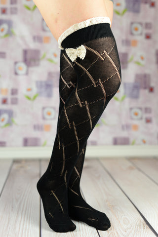 Boot Socks - Black Cable Knit Boot Socks With Bow