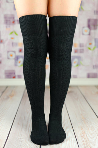 Boot Socks - Black Fold Over The Knee Boot Socks