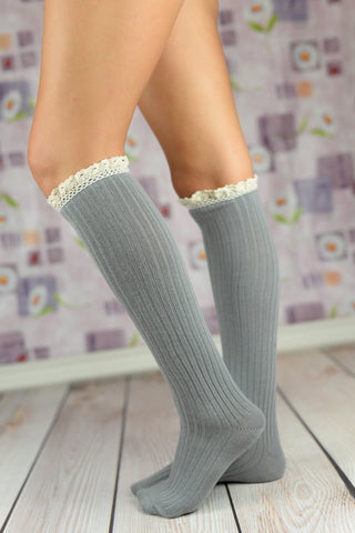 Boot Socks - Gray Cable Knit Boot Socks