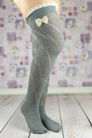 Boot Socks - Gray Cable Knit Boot Socks With Bow