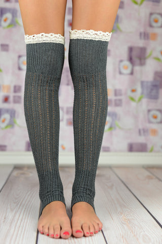 Boot Socks - Gray Open-Toe Yoga Boot Socks