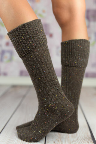 Boot Socks - Holiday Dark Mocha Speckled Boot Socks