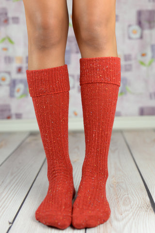 Boot Socks - Holiday Red Speckled Boot Socks