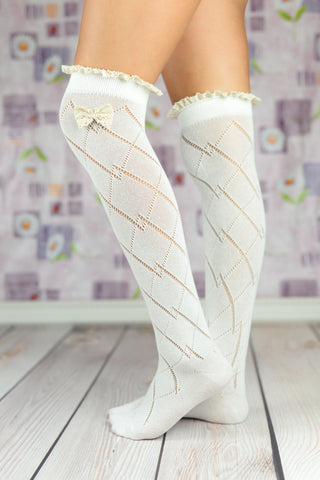 Boot Socks - White Cable Knit Boot Socks With Bow