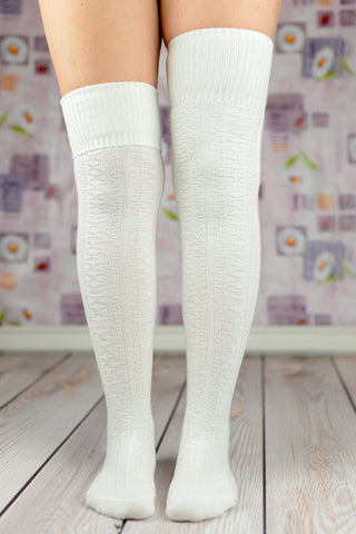 Boot Socks - White Fold Over The Knee Boot Socks