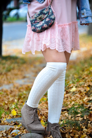 Boot Socks - White Over The Knee Boot Socks