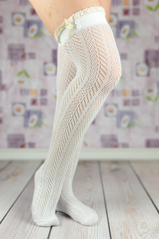 Boot Socks - White Ruffled Cable Knit Boot Socks