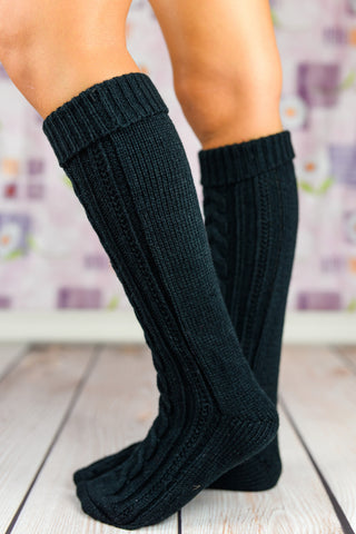 Leg Warmers - Black Heavy Winter Boot Socks