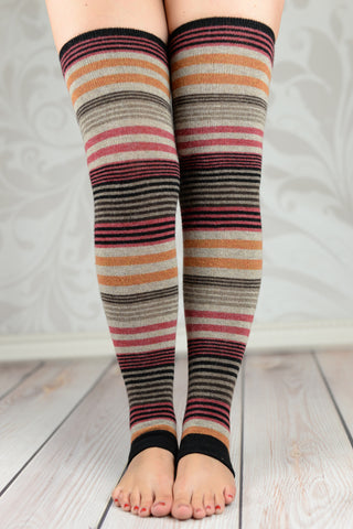 Leg Warmers - Brown Rainbow Striped Leg Warmers