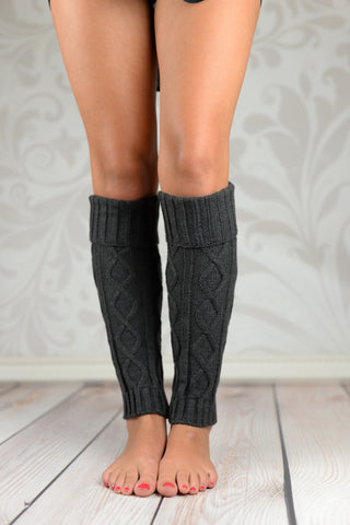 Leg Warmers - Charcoal Fold Over Cable Knit Leg Warmers