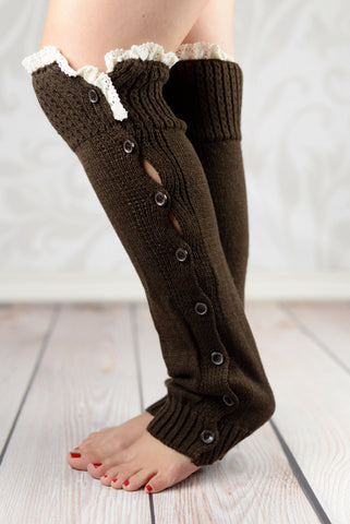 Leg Warmers - Coffee Cable Knit Button-Down Legwarmers With Crochet Rim