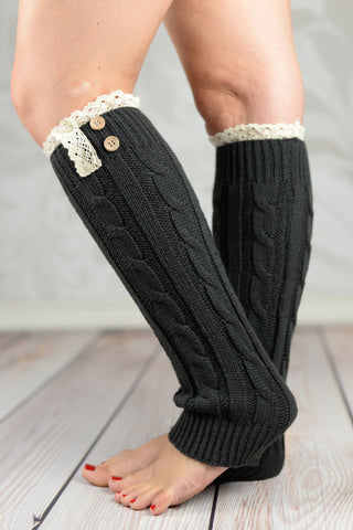 Leg Warmers - Dark Gray Braided Leg Warmers With Lace Rim