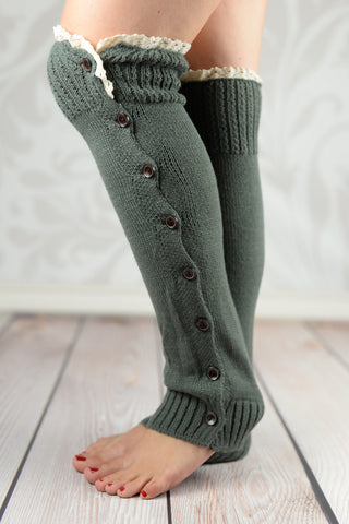 Leg Warmers - Gray Cable Knit Button-Down Legwarmers With Crochet Rim