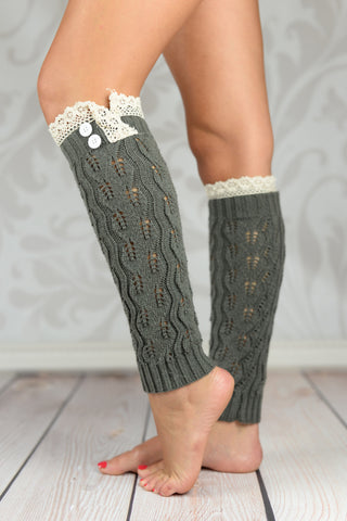 Leg Warmers - Gray Crochet Leg Warmers With Lace Rim