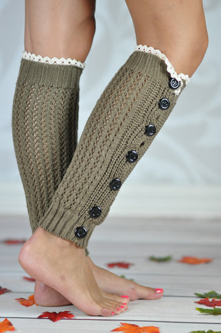 Leg Warmers - Khaki Crochet Button Legwarmers With Lace Rim