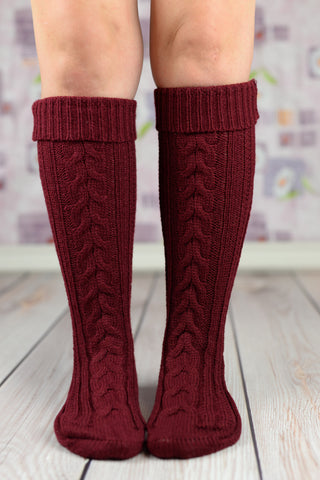 Leg Warmers - Maroon Heavy Winter Boot Socks