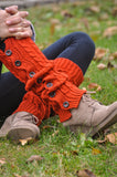 Leg Warmers - Red-Orange Button Winter Knit Leg Warmers