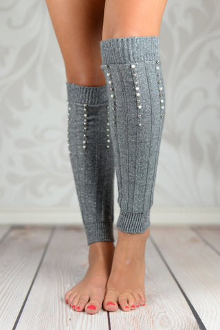 Leg Warmers - Silver Beaded Cable Knit Leg Warmers