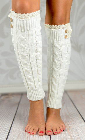 Leg Warmers - White Braided Leg Warmers With Lace Rim