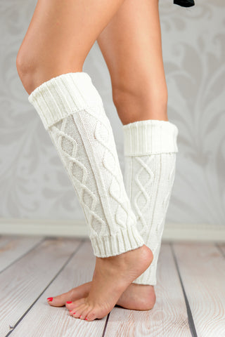 Leg Warmers - White Fold Over Cable Knit Leg Warmers