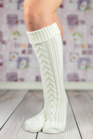 Leg Warmers - White Heavy Winter Boot Socks