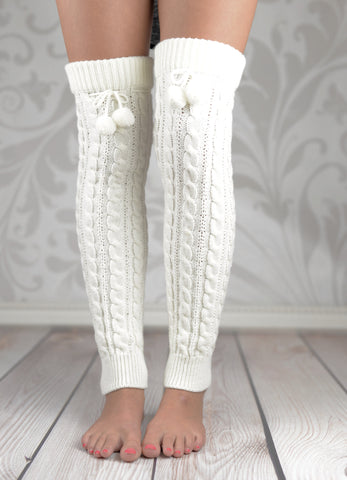 Leg Warmers - White Over The Knee Cable Knit Leg Warmers