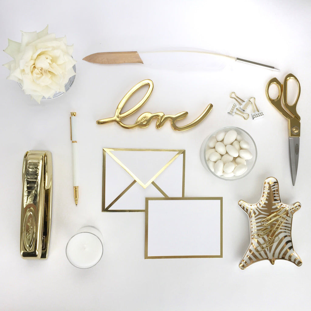 White and Gold Desk Accessories