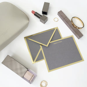 Gray and Gold Envelope and Card
